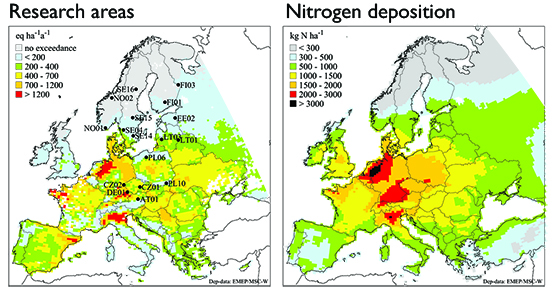 Map: Research areas and nitrogen deposit.