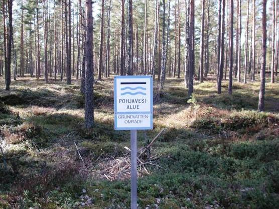 Groundwater basin sign in Finland.