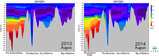 Oxygen levels from Gotland to the Bothnian Bay in 2011–2013